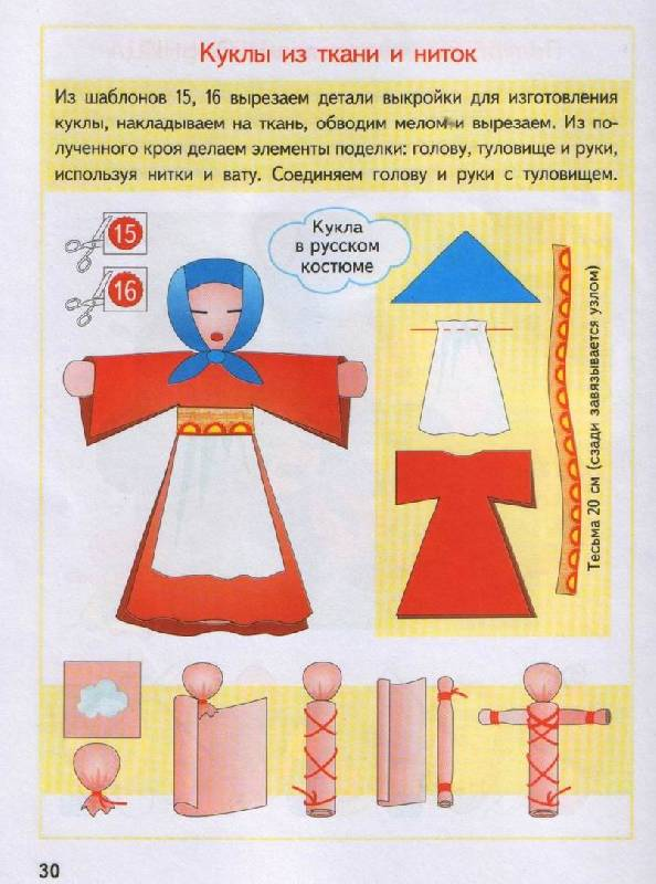 Как сделать куклу из ткани и ниток