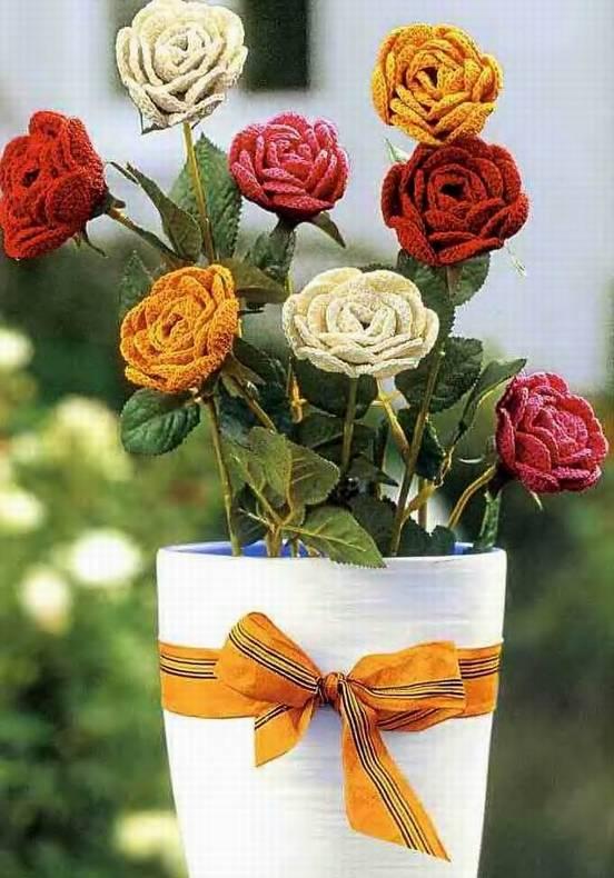 Вяжем для дома: вязание цветов крючком схемы.