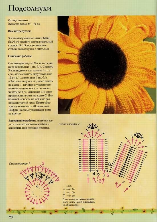 Арт-Родник ДТ: Вязаные цветы и плоды: Цветные схемы, техника вязания.