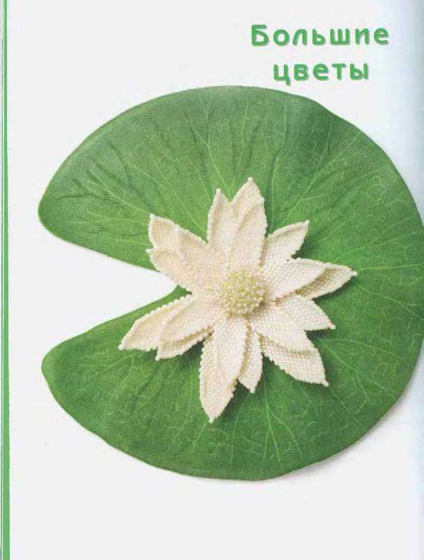 Водяная лилия из бисера Плетение цветка Водяная лилия состоит из трех групп по 6 лепестков, расположенных по...
