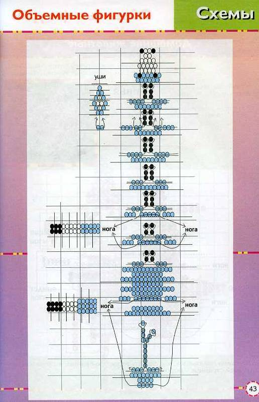 Схема плетения объемного осла из бисера.