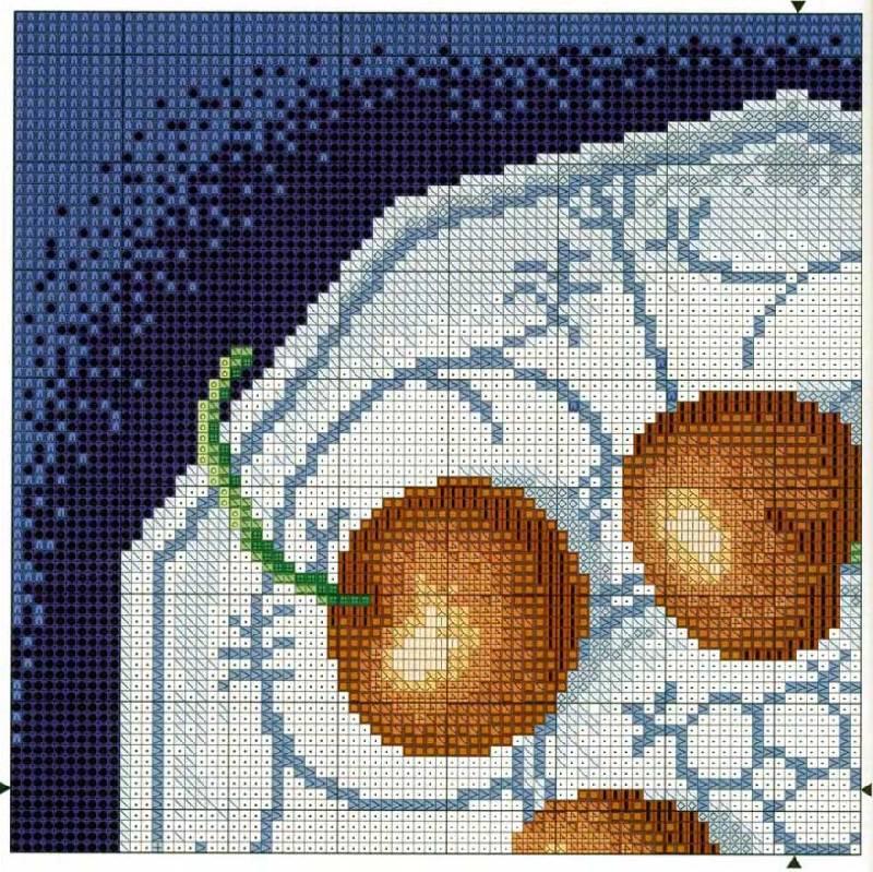 Вишни - Схема для вышивания крестиком.