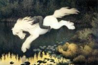 Здесь изображён водяной дух выходящий из воды на охоту в образе белого...