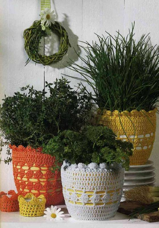 Кашпо для цветов вязание