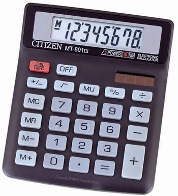Иллюстрация 1 из 2 для Калькулятор настольный Citizen 8-разрядный MT-801(III) | Лабиринт - канцтовы. Источник: Алена