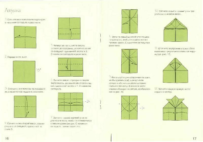 Оригами из бумаги лягушка схема пошагово с
