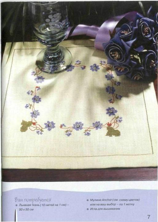 Вам потребуется Льняная ткань (10 нитей на 1 см) -50 х 50 см Мулине Anchor (см. схему цветов) или на ваш выбор...