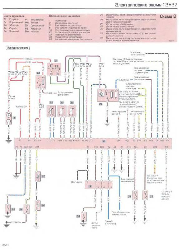 Электрические схемы БМВ 3 - 3 схема.  Схема 3 - Приборная панель.