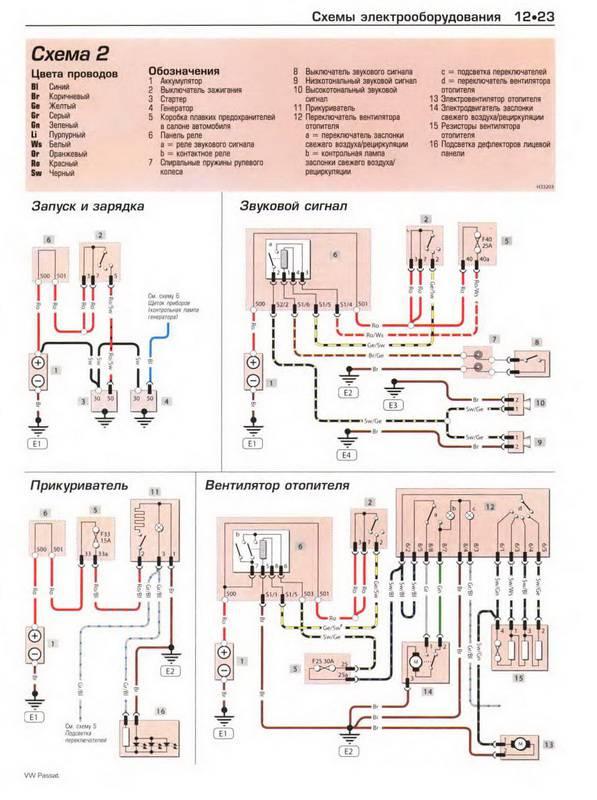 Кликните на картинку, чтобы увидеть полноразмерную версию.  Скачать Схемы электрооборудования VOLKSWAGEN PASSAT...