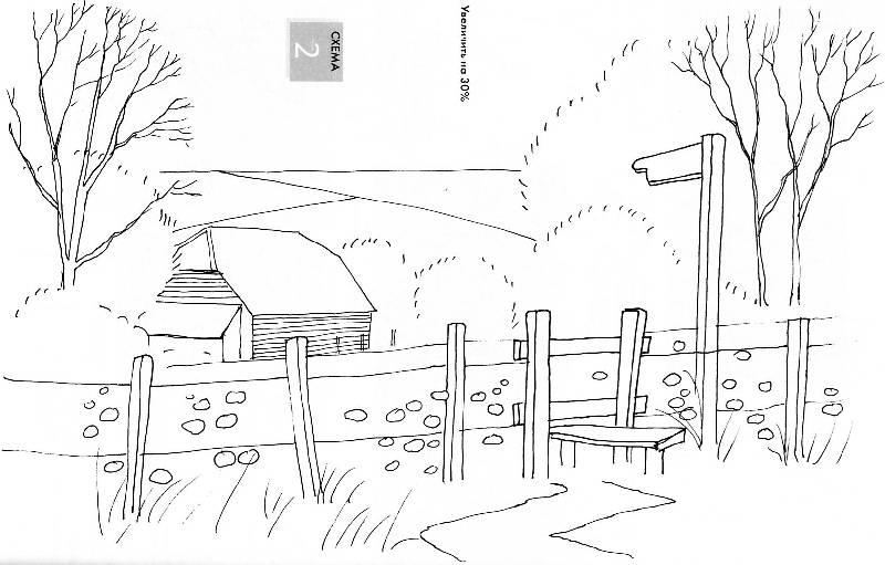 19 для книги рисуем по схемам пейзажи