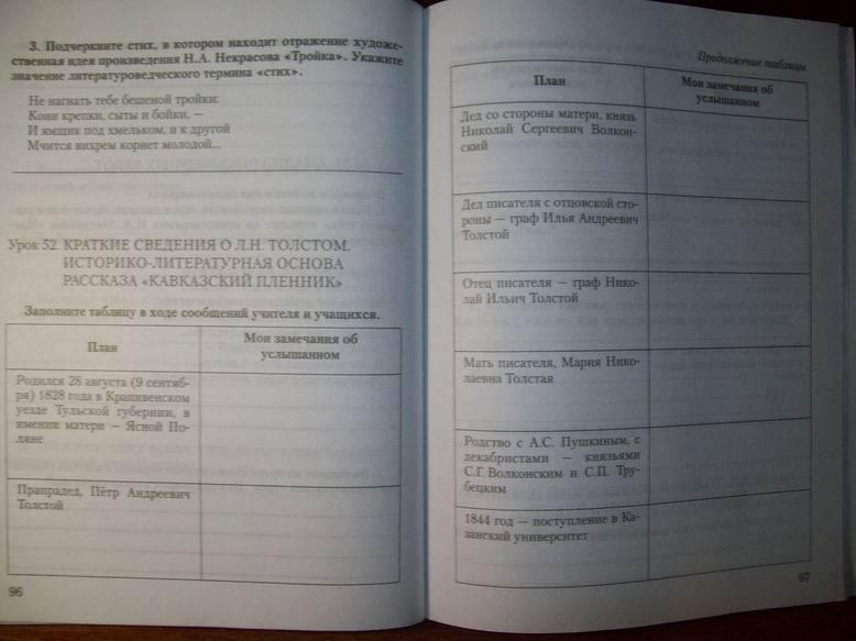 Рабочая класс тетрадь меркина 2 гдз литература часть 7