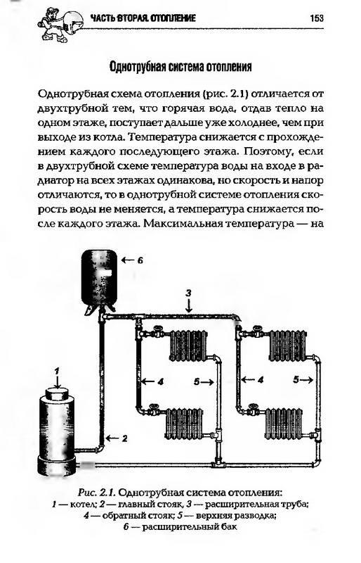 Однотрубная система отопления: 1 - котел; 2—главный стояк, 3 - расширительная...