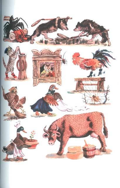 Иллюстрации Журавль и цапля.  Русские народные сказки, загадки