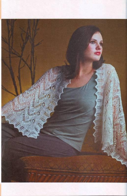 Схема вязания ажурной шали спицами.