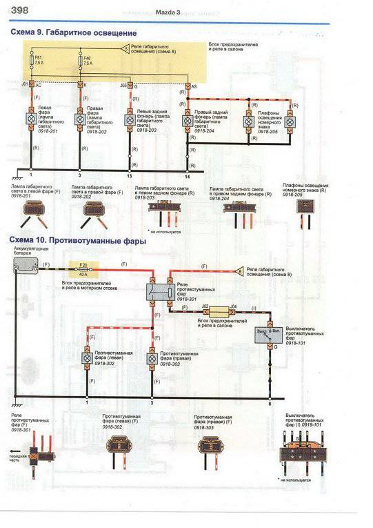 Скачать Цветные схемы электрооборудования MAZDA 3 / AXELA Седан 2003-2009, бензин 1,6 и 2,0 л.