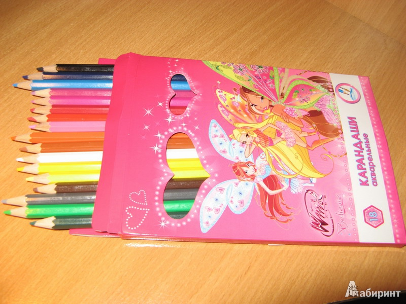 """Иллюстрация 1 из 3 для Карандаши акварельные 18 цветов """"Winx"""" (AK-18/W)   Лабиринт - канцтовы. Источник: Туту_мама"""