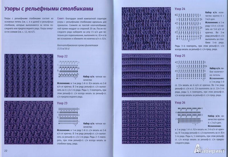 Плотные узоры крючком из столбиков