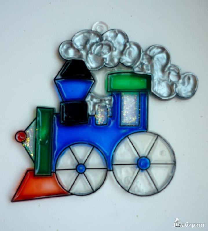 Иллюстрация 1 из 5 для Витраж малый: Паровоз | Лабиринт - игрушки. Источник: Капитан Африка