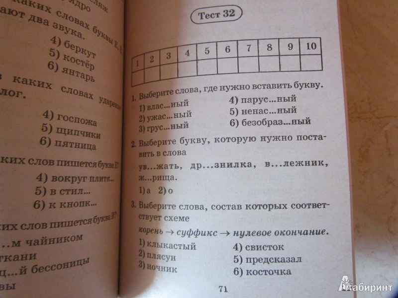 Тесты по русскому языку за 2 четверть 10 класс