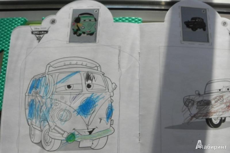 Иллюстрация 1 из 3 для Тачки 2. Наклей и раскрась (№13133)   Лабиринт - книги. Источник: Любовь Язовская