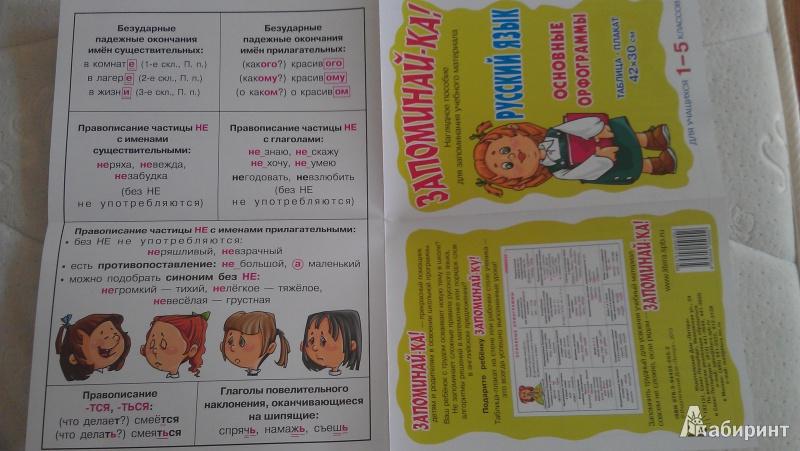 Основные орфограммы для 1 5 классов