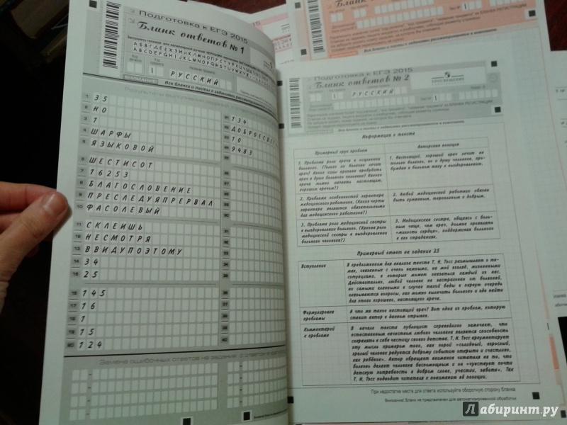 Бланк заполнения по егэ по русскому языку