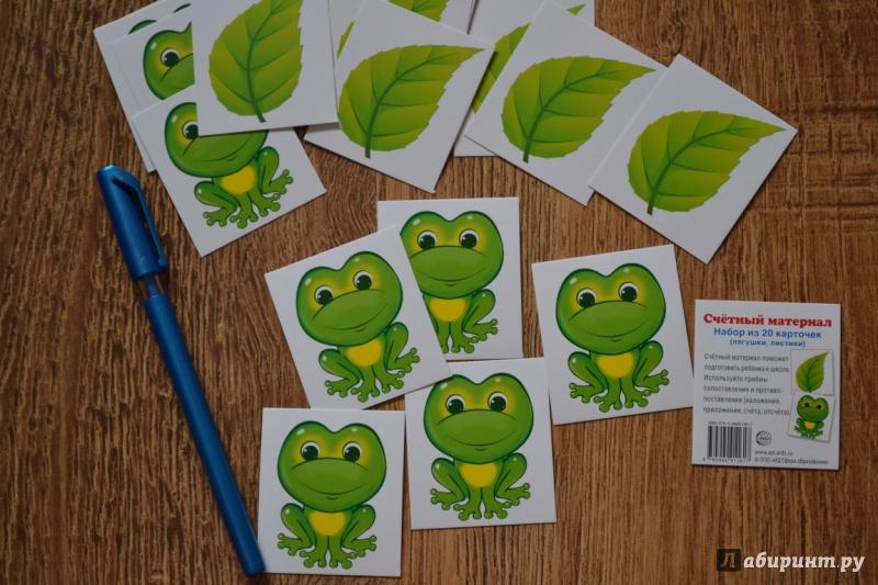 Иллюстрация 1 из 8 для Счетный материал (набор из 20 карточек) Лягушки, листики | Лабиринт - книги. Источник: juli_pani