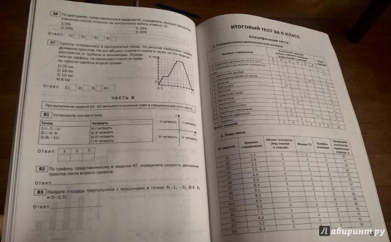 Математика 6 класс тест 8 ответы