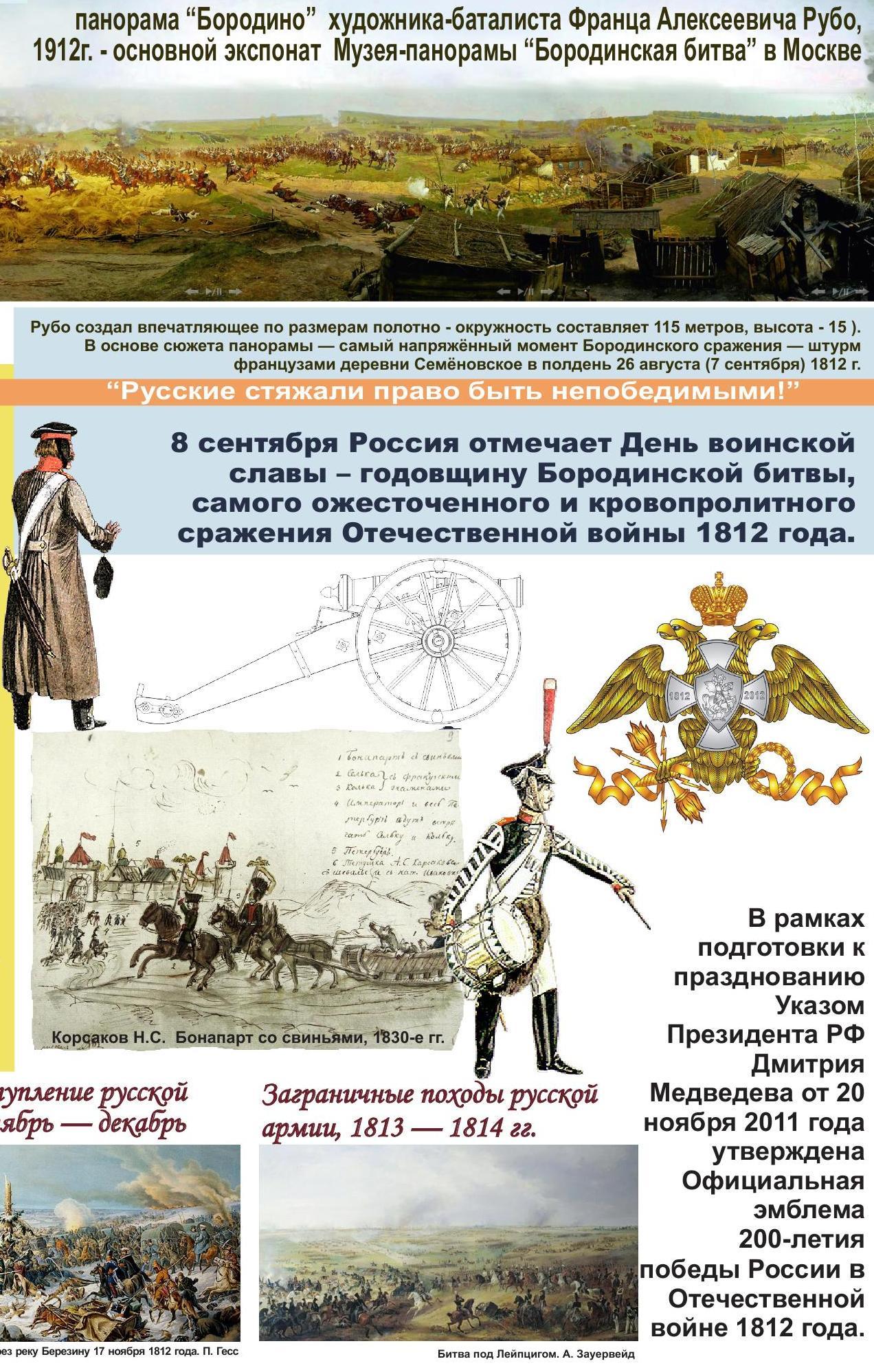 К юбилею бородинской битвы сценарии