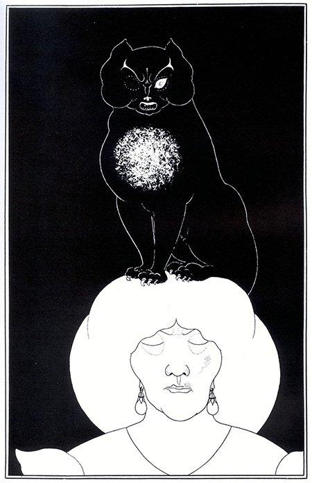 Иллюстрация к рассказу Эдгара По «Черный кот». Обри Бердслей, 1894.