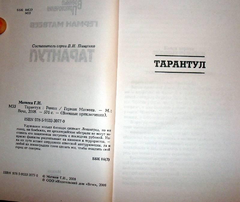 Иллюстрация 1 из 4 для Тарантул - Герман Матвеев | Лабиринт - книги. Источник: Мефи