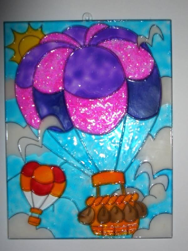 Иллюстрация 1 из 3 для Витраж большой: Воздушный шар | Лабиринт - игрушки. Источник: sher