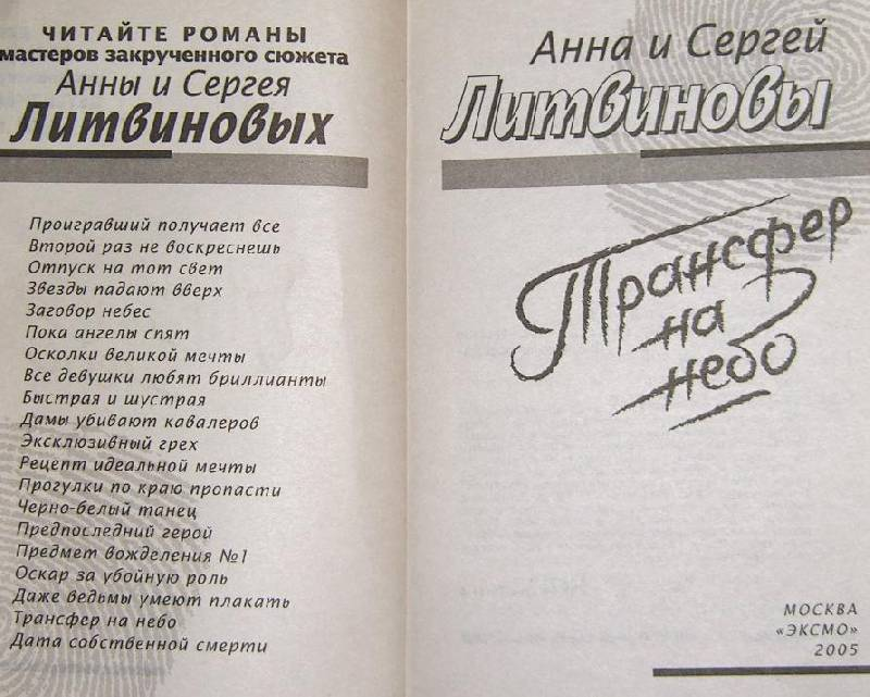 Иллюстрация 1 из 7 для Трансфер на небо: Повесть - Литвинова, Литвинов   Лабиринт - книги. Источник: JenEvNika