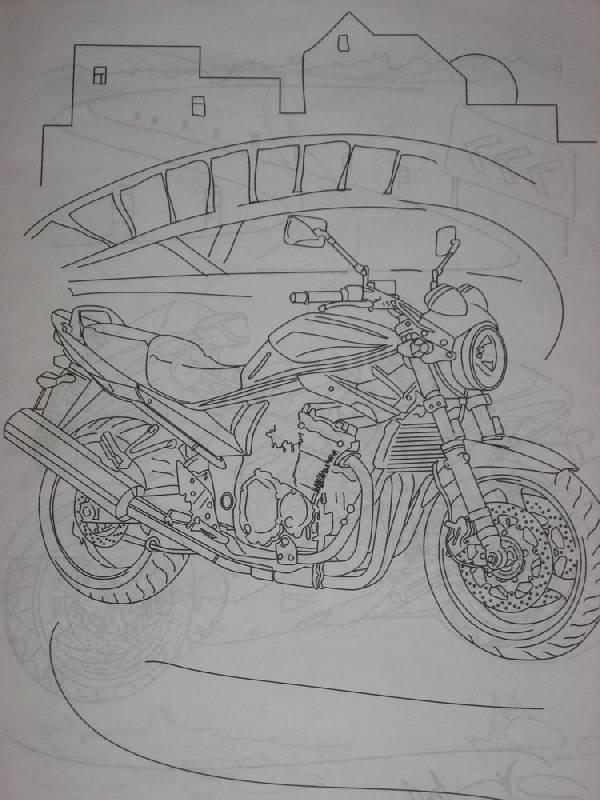 Иллюстрация 1 из 3 для Раскраска: Мотоциклы (Р040108) | Лабиринт - книги. Источник: Dana-ja