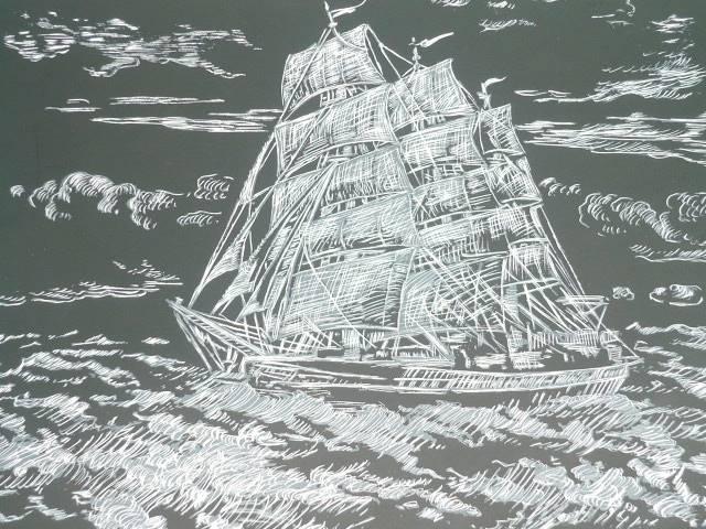 Иллюстрация 1 из 7 для Пейзаж: Фрегат. Гравюра с металлическим эффектом | Лабиринт - игрушки. Источник: Ромашка:-)