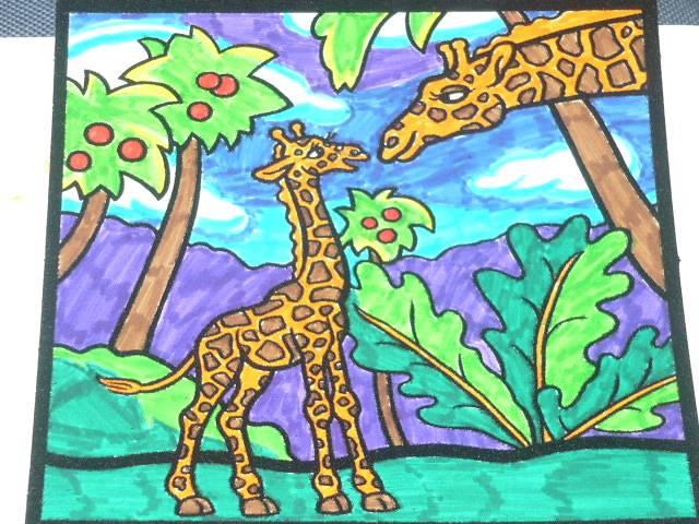 Иллюстрация 1 из 2 для Бархатные раскраски-мини. Жирафы | Лабиринт - игрушки. Источник: Ромашка:-)