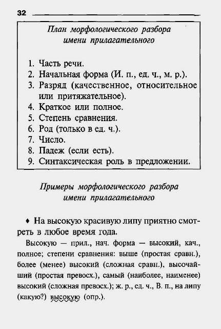 Морфологический разбор прилагательного 8 класс образец.