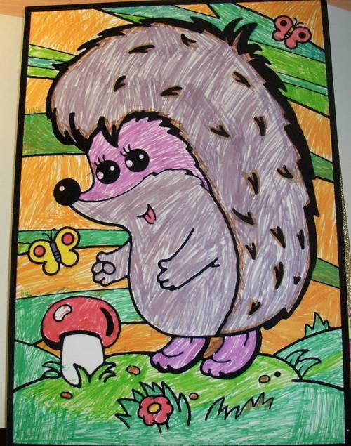 Иллюстрация 1 из 4 для Бархатная раскраска. Ежик с грибочком | Лабиринт - игрушки. Источник: Любовь