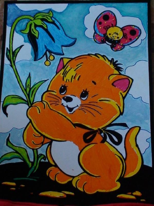 Иллюстрация 1 из 2 для Бархатная раскраска. Котенок с колокольчиком (1546) | Лабиринт - игрушки. Источник: Макарова  Ирина