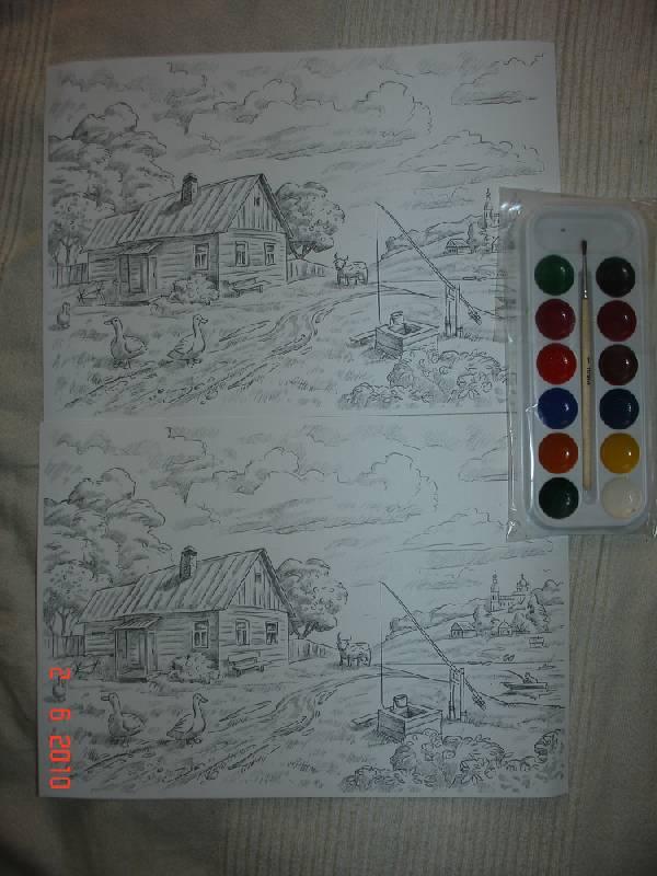 Иллюстрация 1 из 3 для Раскраска Деревенский пейзаж (Рн022) | Лабиринт - игрушки. Источник: urri23