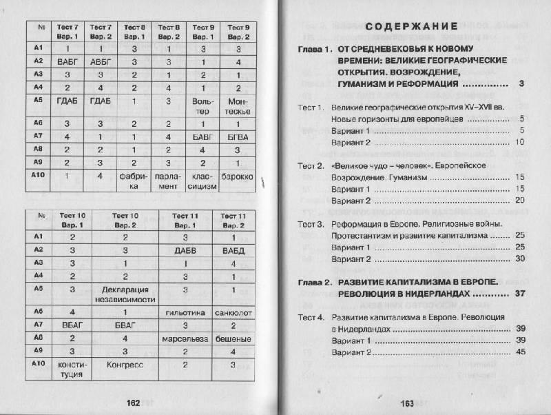 Контрольно-измерительные материалы по истории нового времени для 7 класса по юдовской