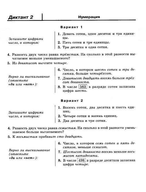 Download математические диктанты 4 класс жохов