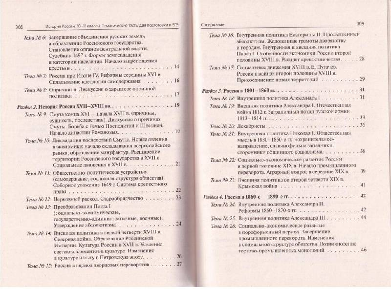 Тематические тесты по истории россии