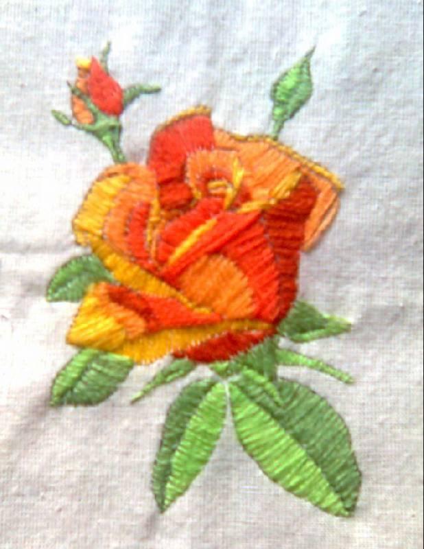 Вышивка роза фото гладью
