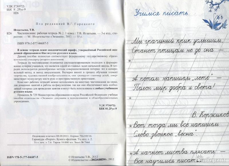 Чистописание 1 класс Рабочая тетрадь № 1, 2 Горецкий (Комплект) (Экзамен)