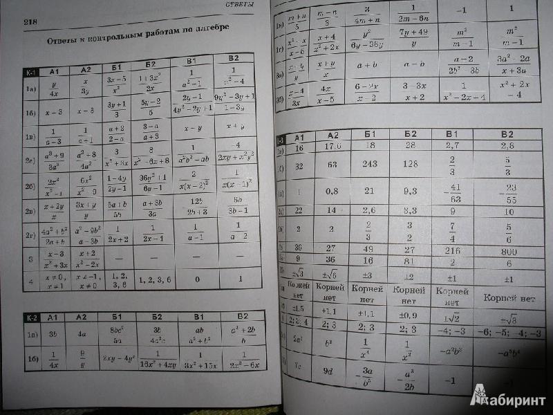 ответы к рабочей тетраде по алгебре и геометрии ершова голобородько 8 класс