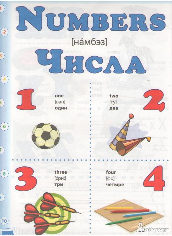 цифры на английском языке для детей в картинках