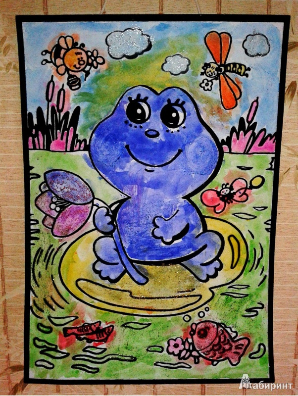 Иллюстрация 1 из 2 для Бархатная раскраска. Лягушонок | Лабиринт - игрушки. Источник: Колдашова  Любовь