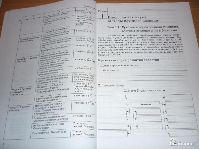 10-11 гдз тетрадь класс биология рабочая каменского