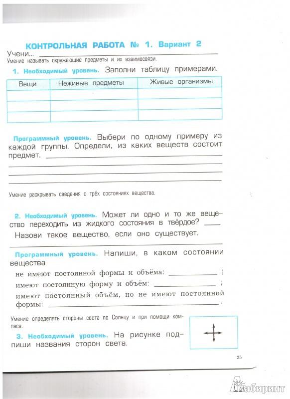 Тестовые задания по окружающему миру 1 класс вахрушев